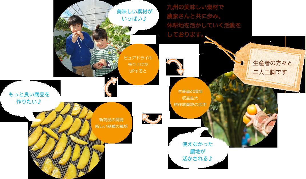 九州のおいしい素材で農家さんと共に歩み、休耕地を生かしていく活動をしております。美味しい素材がいっぱい♪→使えなかった農地が活かされる♪→もっと問商品を作りたい♪